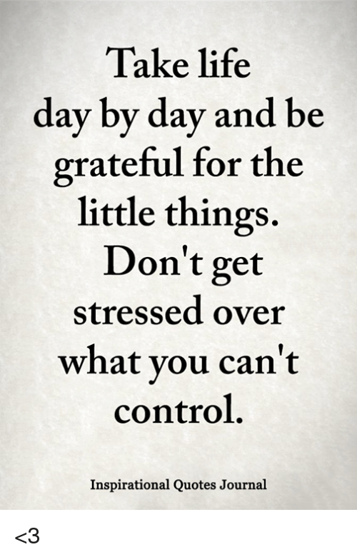 Take Life Day by Day and Be Grateful for the Little Things ...