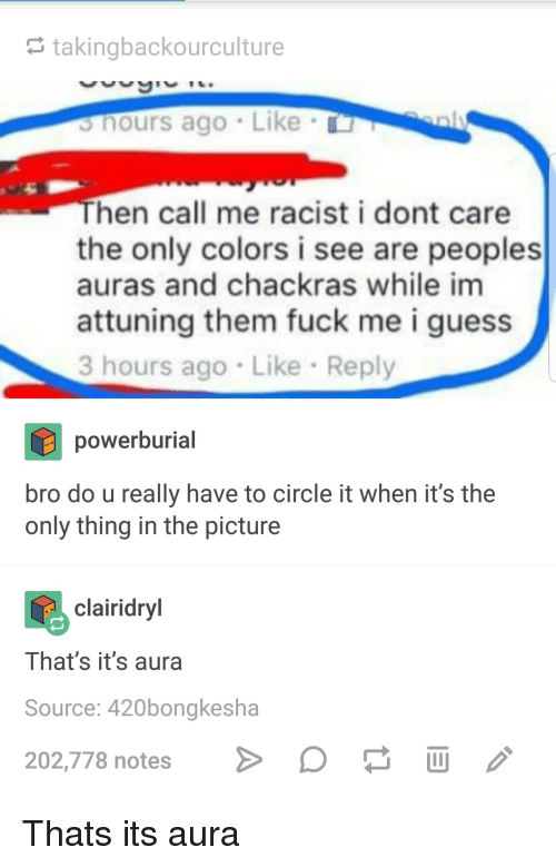 Fuck, Guess, and Racist: takingbackourculture  s hours ago Like  hen call me racist i dont care  the only colors i see are peoples  auras and chackras while im  attuning them fuck me i guess  3 hours ago Like Reply  powerburial  bro do u really have to circle it when it's the  only thing in the picture  clairidryl  Ihat's it's aura  Source: 420bongkesha  202,778 notes Þo  画 Thats its aura