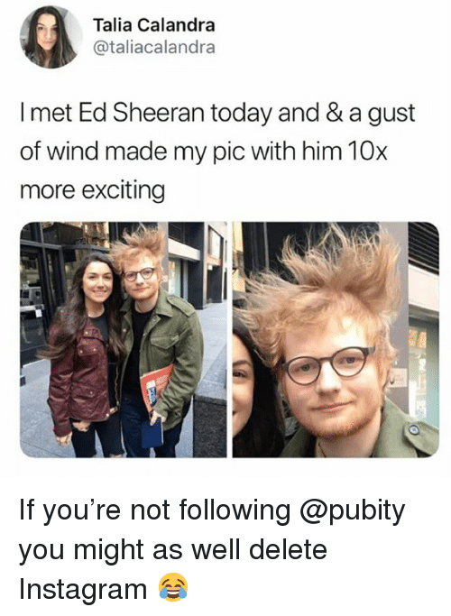 Instagram, Memes, and Ed Sheeran: Talia Calandra  @taliacalandra  I met Ed Sheeran today and & a gust  of wind made my pic with him 10x  more exciting If you're not following @pubity you might as well delete Instagram 😂