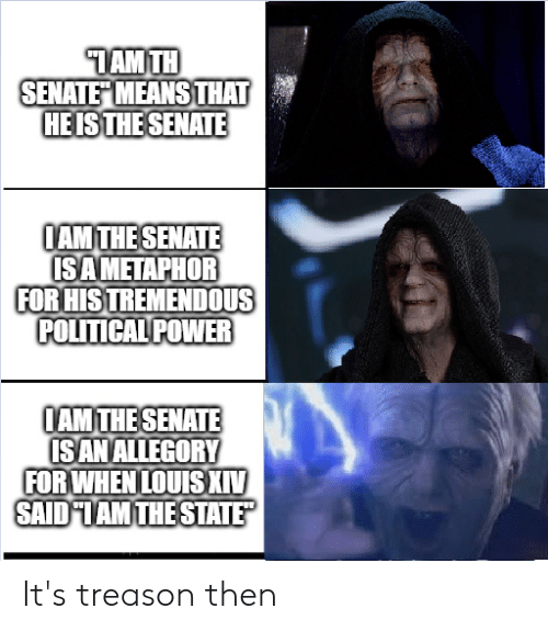 Metaphor, Power, and The State: TAMTH  SENATE MEANS THAT  HEISTHE SENATE  AM THE SENATE  SA METAPHOR  FOR HIS TREMENDOUS  POLITICAL POWER  AM THE SENATE  IS AN ALLEGORY  FORWHEN LOUIS XIV  SAID TAM THE STATE It's treason then