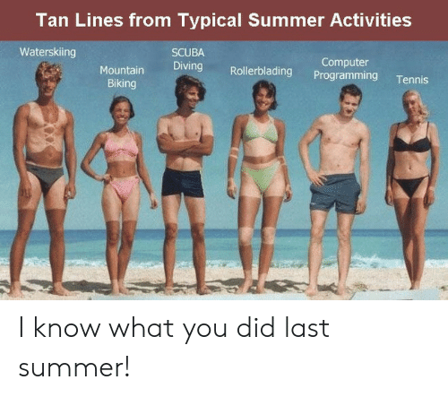 Summer, Computer, and Tennis: Tan Lines from Typical Summer Activities  Waterskiing  SCUBA  Diving Rollerblading Programming Tennis  Computer  Biking I know what you did last summer!