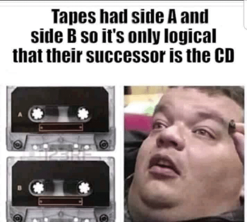 Side, Their, and Logical: Tapes had side A and  side B so it's only logical  that their successor is the CD
