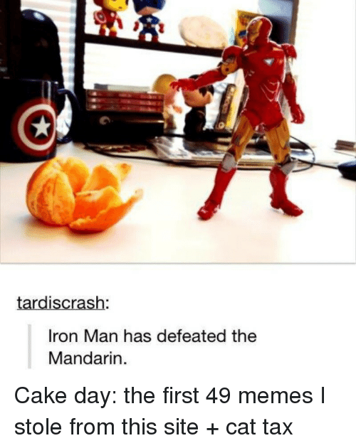 Iron Man, Memes, and Cake: tardiscrash  Iron Man has defeated the  Mandarin Cake day: the first 49 memes I stole from this site + cat tax