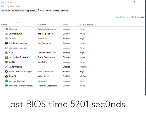 Task Manager File Options Vievw Processes Performance App History
