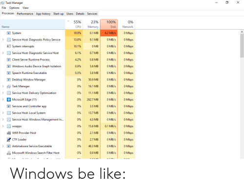 Task Manager File Options View Processes Performance App