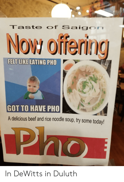 Taste of Saigon Now Offering FELT LIKE EATING PHO GOT TO HAVE PHO a