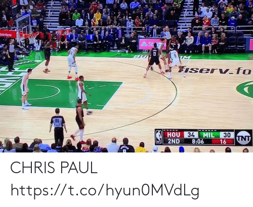 Chris Paul, Memes, and 🤖: tate Farm  26  34  MIL  30  HOU  2ND 8:06 CHRIS PAUL  https://t.co/hyun0MVdLg