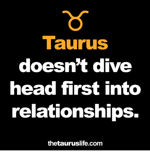 Head, Relationships, and Taurus: Taurus  doesn't dive  head first into  relationships.  thetauruslife.com