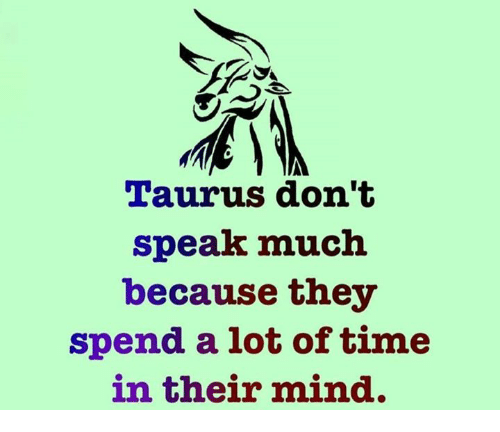 Taurus, Time, and Mind: Taurus don't  speak much  because they  spend a lot of time  in their mind.