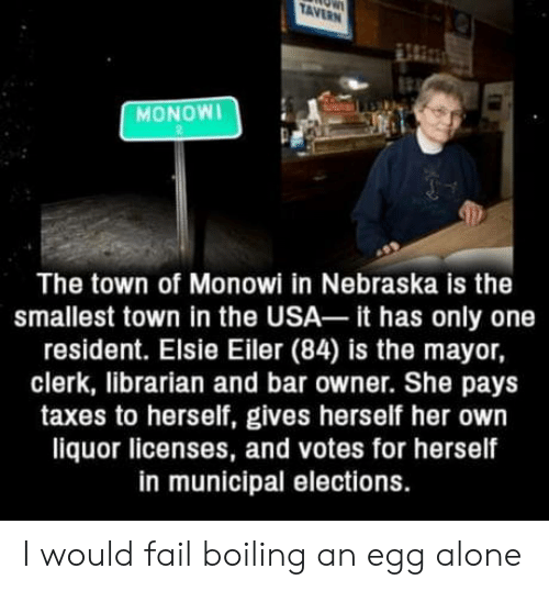 Being Alone, Fail, and Taxes: TAVERN  MONOWI  The town of Monowi in Nebraska is the  smallest town in the USA it has only one  resident. Elsie Eiler (84) is the mayor,  clerk, librarian and bar owner. She pays  taxes to herself, gives herself her own  liquor licenses, and votes for herself  in municipal elections. I would fail boiling an egg alone