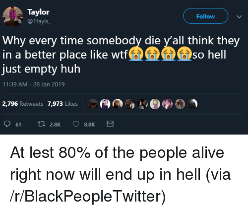Alive, Blackpeopletwitter, and Huh: Taylor  @1tayls  Follow  Why every time somebody die y'all think they  in a better place like wtt  just empty huh  so hell  11:39 AM -28 Jan 2019  2,796 Retweets 7,973 Likes  A.Der)a) At lest 80% of the people alive right now will end up in hell (via /r/BlackPeopleTwitter)