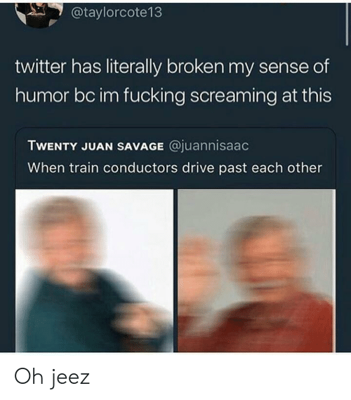 Fucking, Savage, and Twitter: @taylorcote13  twitter has literally broken my sense of  humor bc im fucking screaming at this  TWENTY JUAN SAVAGE @juannisaac  When train conductors drive past each other Oh jeez
