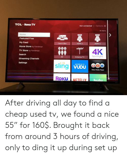 TCL RoKu TV Not Connected Options 15 Items Home Featured