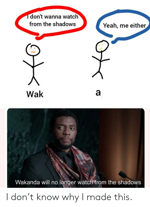 Yeah, Watch, and Don: Tdon't wanna watch  from the shadows  Yeah, me either  a  Wak  Wakanda will no longer watch from the shadows  CO I don't know why I made this.