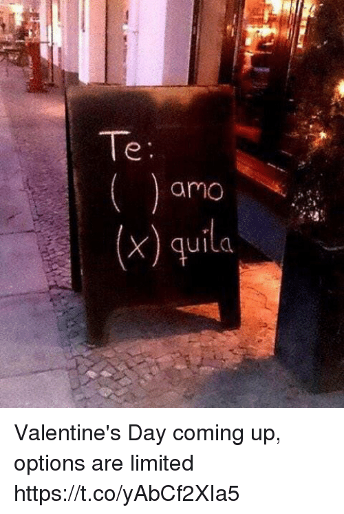 Funny, Valentine's Day, and Limited: Te  amo  (x) quil Valentine's Day coming up, options are limited   https://t.co/yAbCf2XIa5