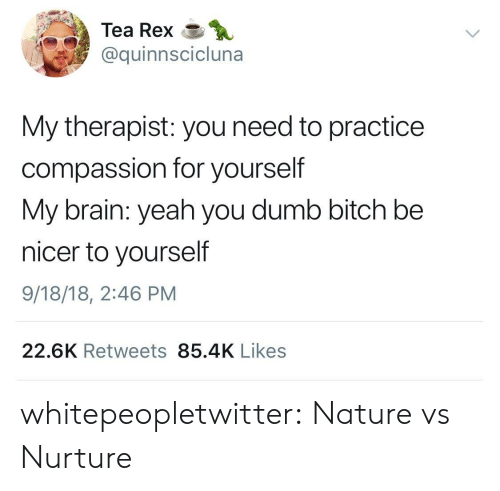Bitch, Dumb, and Tumblr: Tea Rex  @quinnscicluna  My therapist: you need to practice  compassion for yourself  My brain: yeah you dumb bitch be  nicer to yourself  9/18/18, 2:46 PM  22.6K Retweets 85.4K Likes whitepeopletwitter: Nature vs Nurture