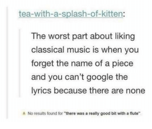 "Google, Music, and The Worst: tea-with-a-splash-of-kitten:  The worst part about liking  classical music is when you  forget the name of a piece  and you can't google the  lyrics because there are none  4 No results found for ""there was a really good bit with a flute"""