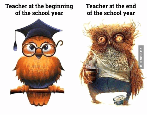 Teacher At The Beginning Teacher At The End Of The School Year Of