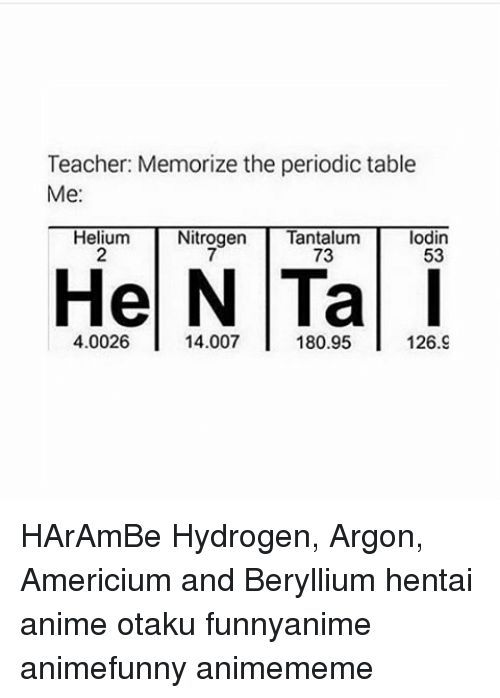 Teacher memorize the periodic table me helium nitrogen tantalum animals hentai and memes teacher memorize the periodic table me helium urtaz Choice Image