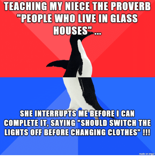Teaching My Niece The Proverb People Who Live In Glass Houses She