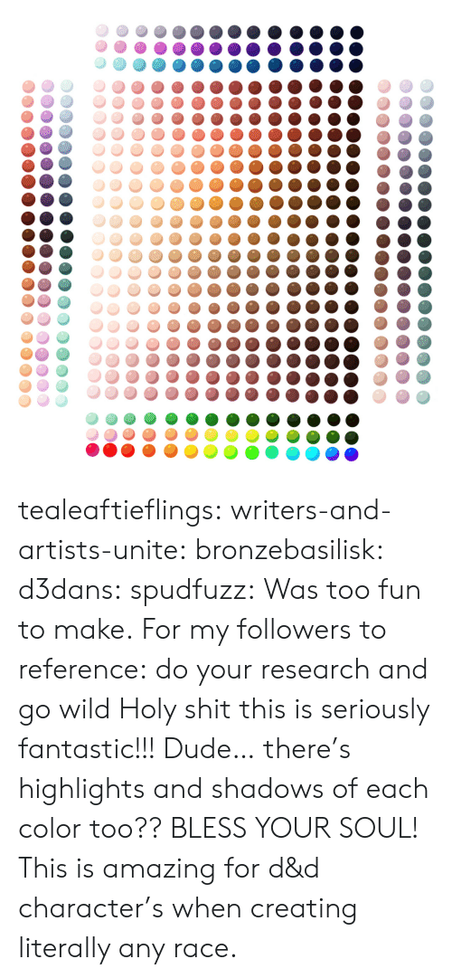 Dude, Target, and Tumblr: tealeaftieflings: writers-and-artists-unite:  bronzebasilisk:  d3dans:  spudfuzz:  Was too fun to make.  For my followers to reference: do your research and go wild  Holy shit this is seriously fantastic!!!  Dude… there's highlights and shadows of each color too?? BLESS YOUR SOUL!   This is amazing for d&d character's when creating literally any race.
