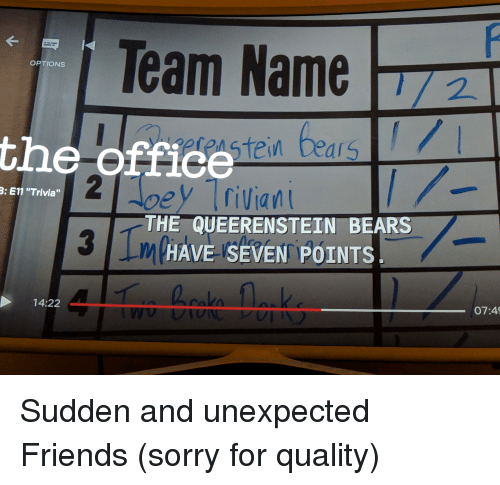 Team Name OPTIONS the Offiee Stein Bears 3 E11 Trivia THE