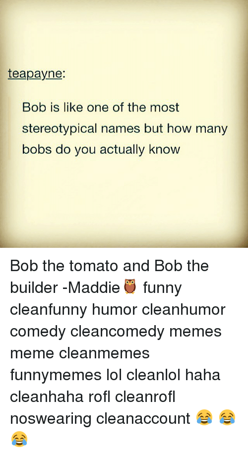 Funny, Lol, and Meme: teapayne:  Bob is like one of the most  stereotypical names but how many  bobs do you actually know Bob the tomato and Bob the builder -Maddie🦉 funny cleanfunny humor cleanhumor comedy cleancomedy memes meme cleanmemes funnymemes lol cleanlol haha cleanhaha rofl cleanrofl noswearing cleanaccount 😂 😂😂