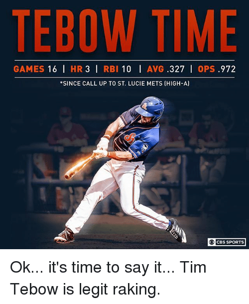 Memes, Sports, and Cbs: TEBOW TIME  GAMES 16 I HR 3 I RBI 10 I AVG .327 | 0PS .972  *SINCE CALL UP TO ST. LUCIE METS (HIGH-A)  0| CBS SPORTS Ok... it's time to say it... Tim Tebow is legit raking.