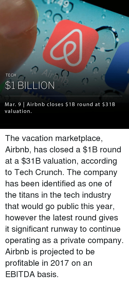 TECH $1 BILLION Mar 9 L Airbnb Closes 1 B Round at $3 1 B Valuation