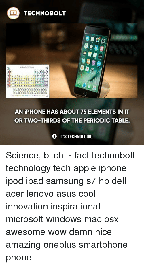 25 best memes about periodic table periodic table memes apple bitch and dell techno bolt aga an iphone has about 75 elements urtaz Choice Image