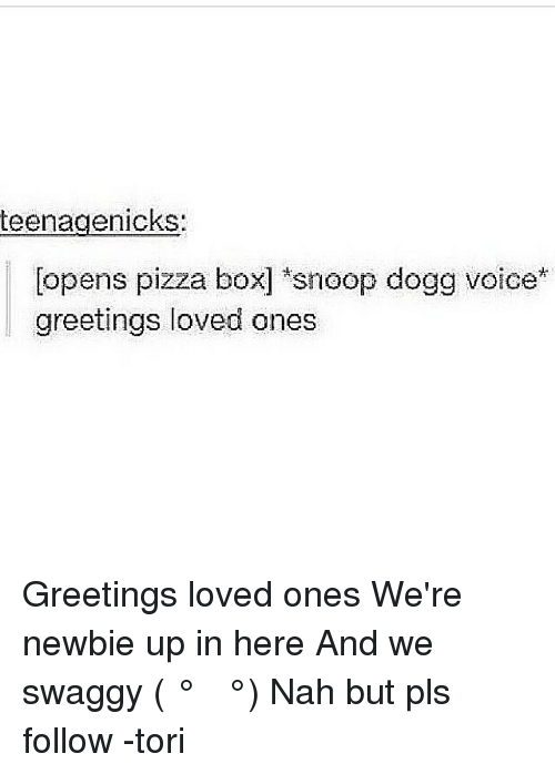 Teenagenicks opens pizza box snoop dogg voice greetings loved ones teenagenicks opens pizza box snoop dogg voice greetings loved ones greetings loved ones were newbie up in here and we swaggy nah but pls follow m4hsunfo