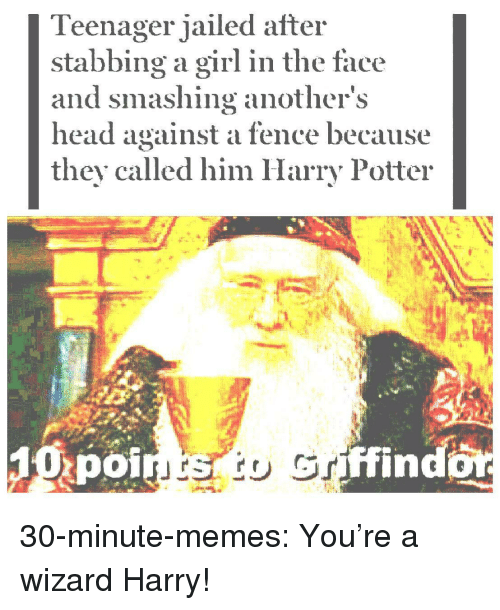 Harry Potter, Head, and Memes: Teenager jailed after  stabbing a girl in the face  and smashing anothers  head against a fence because  they called him Harry Potter  poi  ffind 30-minute-memes:  You're a wizard Harry!
