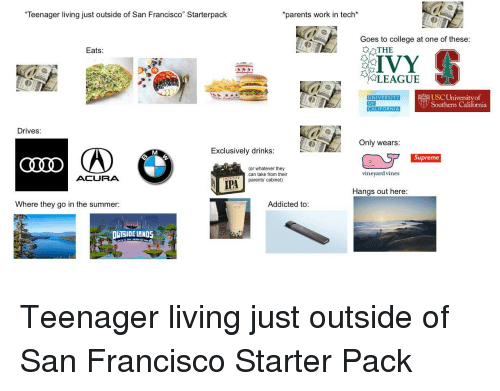 """College, Parents, and Starter Packs: Teenager living just outside of San Francisco"""" Starterpack  parents work in tech*  Goes to college at one of these  Eats  THE  LEAGUE  USC Universityof  Southern  UNIVERSITY  CALIFORNIA  Drives:  Only wears  Exclusively drinks  Supreme  (or whatever they  can take from their  parents' cabinet)  vineyard vines  ACURA  Hangs out here  Where they go in the summer:  Addicted to:  LTSIDE LANDS"""