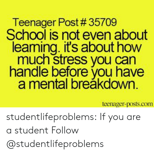 School, Tumblr, and Blog: Teenager Post # 35709  School is not even about  leaming. it's about how  much stress you can  handle before you have  a mental breăkdown  teenager-posts.com studentlifeproblems:  If you are a student Follow @studentlifeproblems