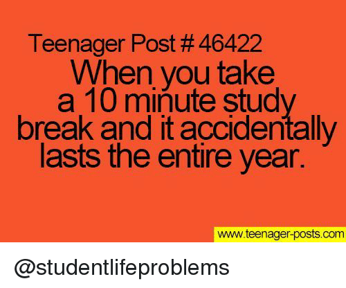 Tumblr, Break, and Http: Teenager Post # 46422  When you take  a 10 minute stud  break and it accidentally  lasts the entire year.  www.teenager-posts.com @studentlifeproblems