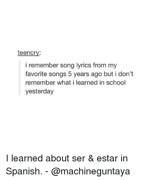 Teencry I Remember Song Lyrics From My Favorite Songs 5 Years Ago