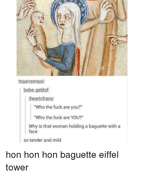 "Tumblr, Eiffel Tower, and Fuck: tegansenpai  babe-geldof:  heart chaos  ""Who the fuck are you?""  ""Who the fuck are YOU?""  Why is that woman holding a baguette with a  face  so tender and mild hon hon hon baguette eiffel tower"
