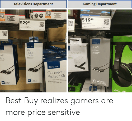 Best Buy, Xbox One, and Xbox: Televisions Department  Gaming Department  WIRED CONTROLLER | MANETTE AVEC FIL  HIGH SPEED  $1999  HIGH SPEED  $2999  Insignia ธ-HDMI Cable  INSIGNIA  HDMI  Cable  INSIGNIA  Xbox One s  NIA  LA  8 ft  HDMI  Cable  upports the  y Charging  MI  ble  INSIGNIA  Connect a  Protect Kit  4K  Outlet, 600 Joule Surge Prtet  s Geps HOM Cables fer Easy  4K Best Buy realizes gamers are more price sensitive