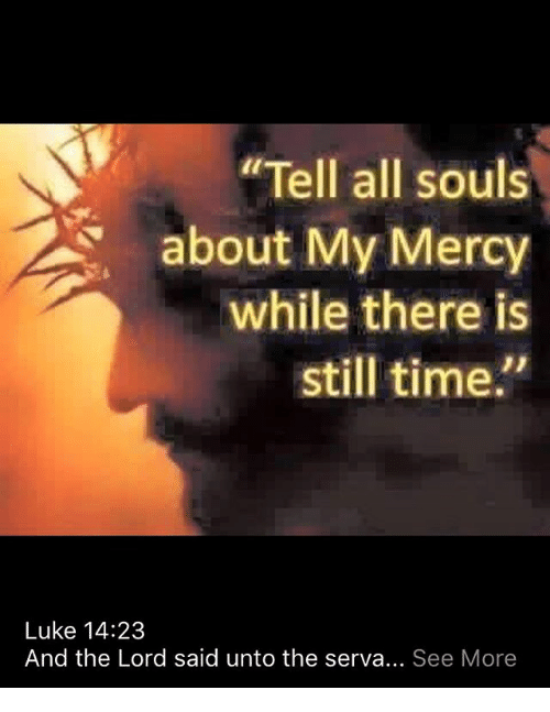tell all souls about my mercy while there is still 20581056 tell all souls about my mercy while there is still time luke 1423