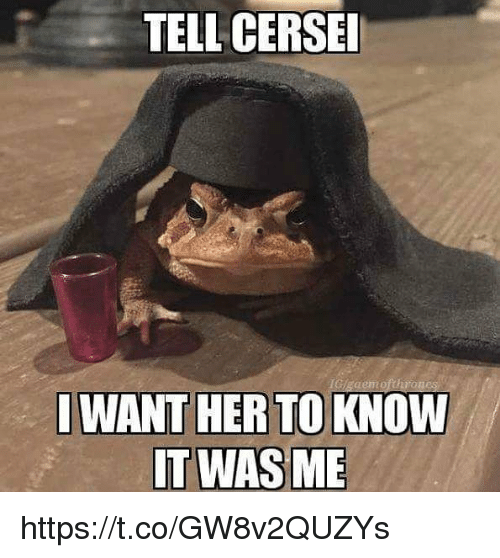 Memes, 🤖, and Her: TELL CERSE  I WANT HER TO KNOW https://t.co/GW8v2QUZYs