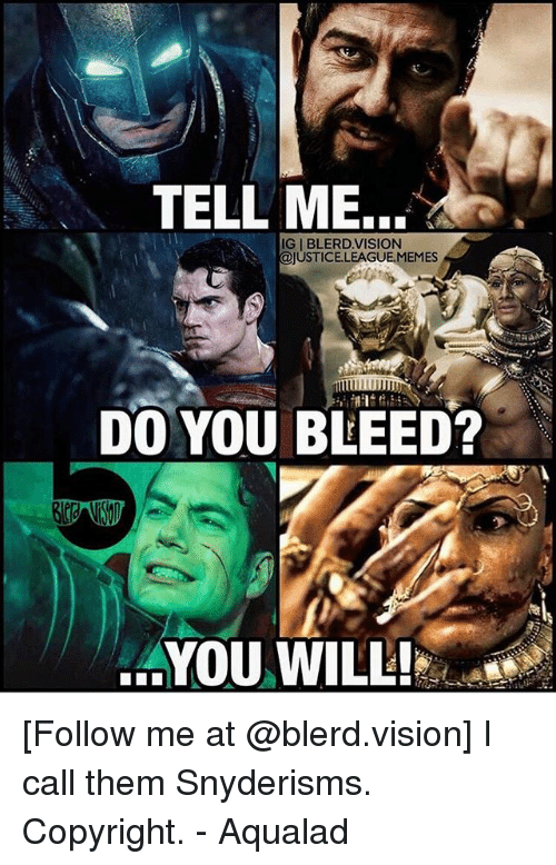 Memes, Vision, and Justice League: TELL ME....  IG | BLERD.VISION  USTICE.LEAGUE.MEMES  DO YOU BLEED?  AYOU WILL! [Follow me at @blerd.vision] I call them Snyderisms. Copyright. - Aqualad