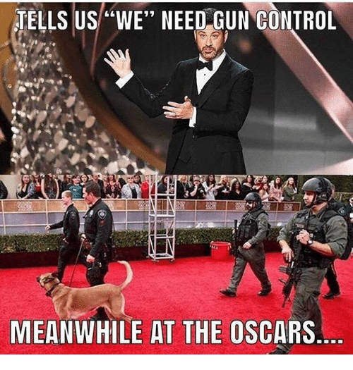 "Memes, Oscars, and Control: TELLS US""WE"" NEED GUN CONTROL  MEANWHILE AT THE OSCARS"