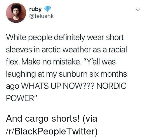 """Blackpeopletwitter, Definitely, and Flexing: @telushk  White people definitely wear short  sleeves in arctic weather as a racial  flex. Make no mistake. """"Y'all was  laughing at my sunburn six months  ago WHATS UP NOW??? NORDIC  POWER"""" And cargo shorts! (via /r/BlackPeopleTwitter)"""