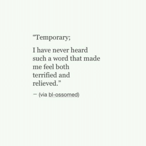 "Word, Never, and Via: Temporary;  I have never heard  such a word that made  me feel both  terrified and  relieved.""  (via bl-ossomed)"