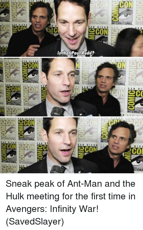 Memes, Hulk, and Avengers: TERNATIONAL INTERNATIONAL INTE  CON  CON  Is that Paul Rudd?  AL INTERNATIONAL INTERNATIONAL  INTERNAT  TIONAL INTERNAT  L INTERNATIO  CO  hosAL INTERNAT  INTERNATIONAL IN  TION  CO  TIONA Sneak peak of Ant-Man and the Hulk meeting for the first time in Avengers: Infinity War!  (SavedSlayer)