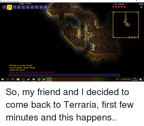 Terraria Sand Is Overpowered Copper Pickaxe Life L00100 Mana 2 8 35