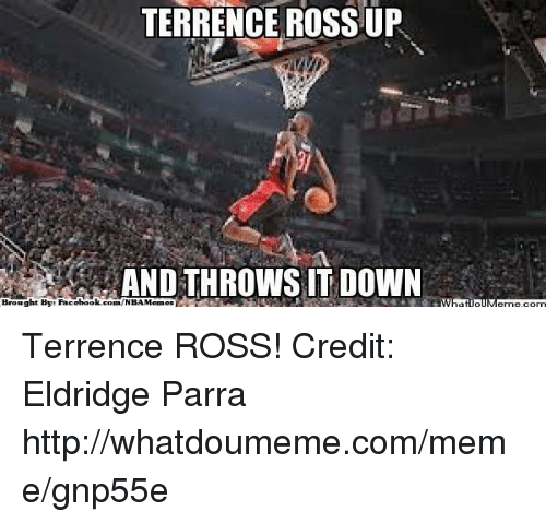 Meme, Nba, and Http: TERRENCE ROSS UP  AND THROWS IT DOWN  Brought By: Pacebook.com/NBAMemes Terrence ROSS! Credit: Eldridge Parra  http://whatdoumeme.com/meme/gnp55e