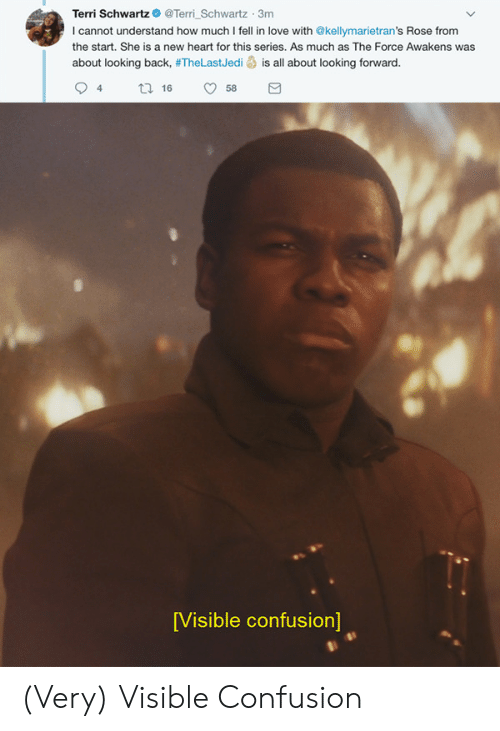 Love, Heart, and Rose: Terri SchwartzTerri Schwartz 3m  I cannot understand how much I fell in love with @kellymarietran's Rose from  the start. She is a new heart for this series. As much as The Force Awakens was  about looking back, #TheLastJedi is all about looking forward.  94 tl 6 58  [Visible confusion] (Very) Visible Confusion