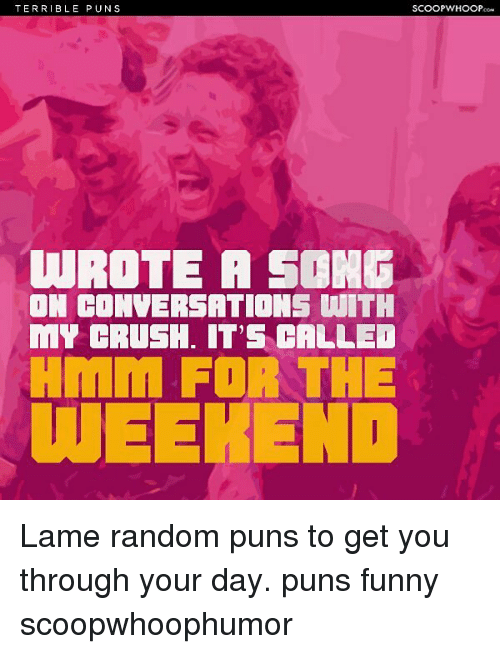 Crush, Funny, and Memes: TERRIBLE PUNS  SCOOPWHOOP  WROTE A SONG  DN COMVERSATIONS WITH  MY CRUSH. IT'S CALLE  WEEHEND Lame random puns to get you through your day. puns funny scoopwhoophumor