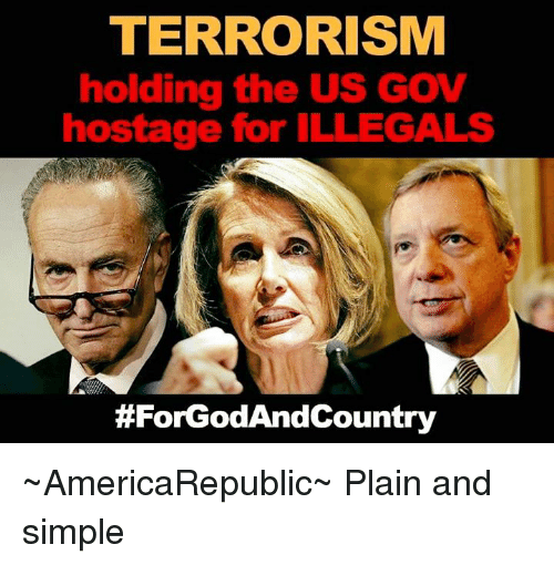 Memes, Terrorism, and 🤖: TERRORISM  holding the US GOV  hostage for ILLEGALS  ~AmericaRepublic~  Plain and simple